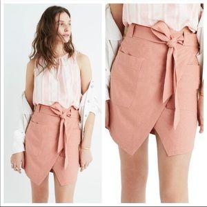 Madewell Portside Faux Wrap Silk Skirt